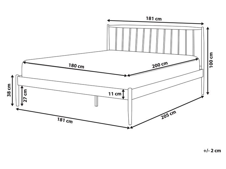 Łóżko białe metalowe z drewnianymi nogami 180 x 200 cm dwuosobowe ze stelażem i zagłówkiem styl retro skandynawski Kolor Biały Łóżko metalowe Kategoria Łóżka do sypialni