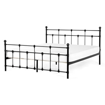 Łóżko ze stelażem czarne metalowa rama ozdobne wezgłowie 160 x 200 cm nowoczesny design