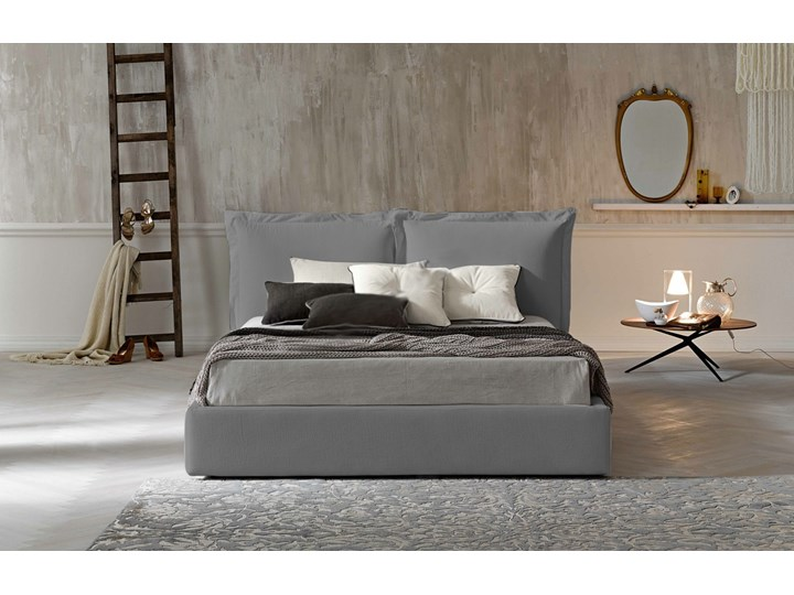 Łóżko tapicerowane SZYMEK  140x200 cm DWUSTRONNE WEZGŁOWIE Tkanina Drewno Pojemnik na pościel Bez pojemnika