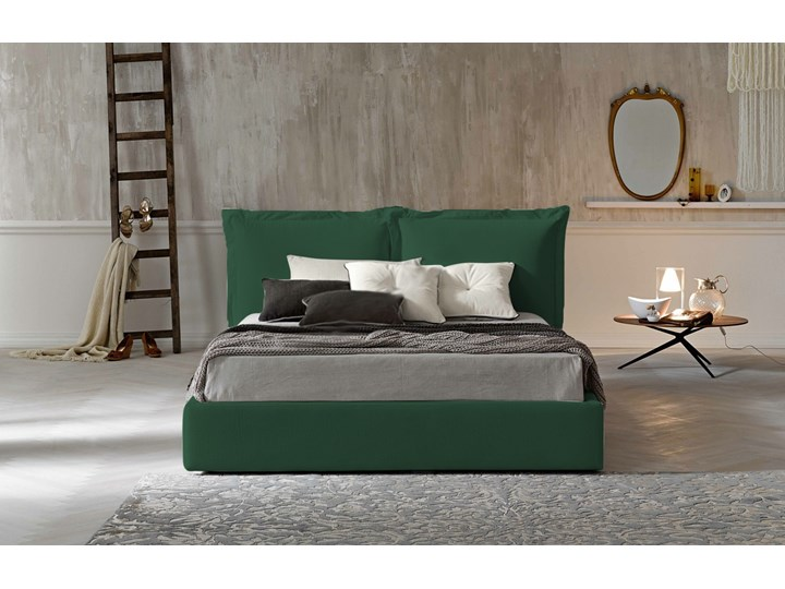 Łóżko tapicerowane SZYMEK  140x200 cm DWUSTRONNE WEZGŁOWIE Pojemnik na pościel Bez pojemnika Tkanina Drewno Kategoria Łóżka do sypialni
