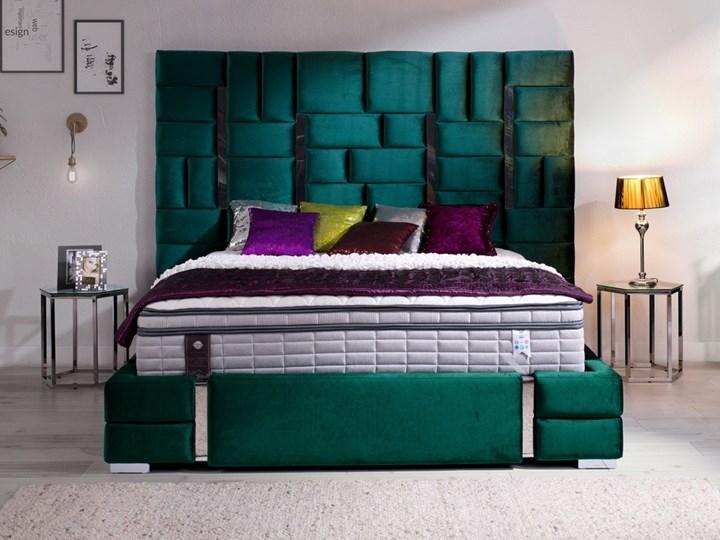 Łóżko  ZEUS 180x200 cm z wysokim wezgłowiem do sypialni Łóżko tapicerowane Drewno Tkanina Styl Nowoczesny Kolor Zielony
