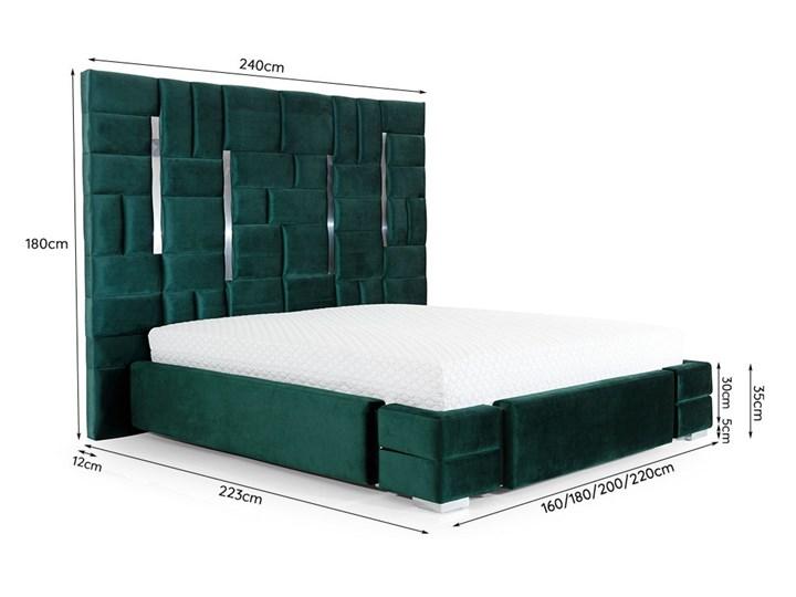 Łóżko  ZEUS 180x200 cm z wysokim wezgłowiem do sypialni Tkanina Łóżko tapicerowane Drewno Zagłówek Z zagłówkiem