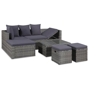 4-cz. zestaw wypoczynkowy do ogrodu, poduszki, rattan PE, szary