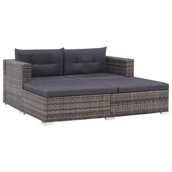 3-cz. zestaw wypoczynkowy do ogrodu, poduszki, rattan PE, szary