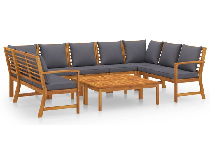 9-cz. zestaw wypoczynkowy do ogrodu, poduszki, drewno akacjowe
