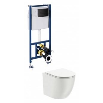 Ottawa podtynkowy zestaw WC z miską i deską wolnoopadającą przycisk czarny mat OTTAWASETBPBL