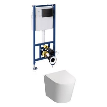Tampa zestaw miska WC z deską wolnoopadającą i stelażem podtynkowym przycisk czarny mat TAMPASETBPBL