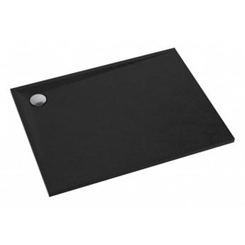 Brodzik prostokątny Stone, 100x80 cm, czarny mat, STONE80/100BL