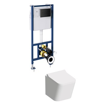 Fontana podtynkowy zestaw WC z miską i deską wolnoopadającą przycisk czarny mat FONTANASETBPBL