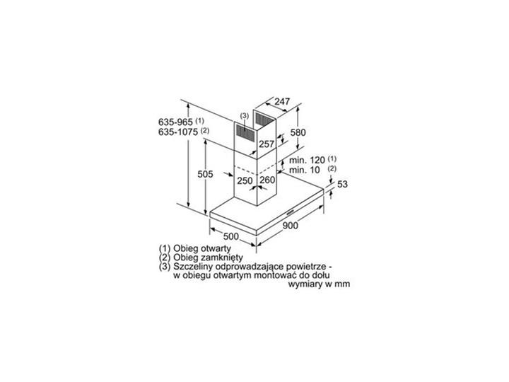 BOSCH DWB 94BC50 Poziom hałasu 64 dB Szerokość 90 cm Okap kominowy Sterowanie Mechaniczne