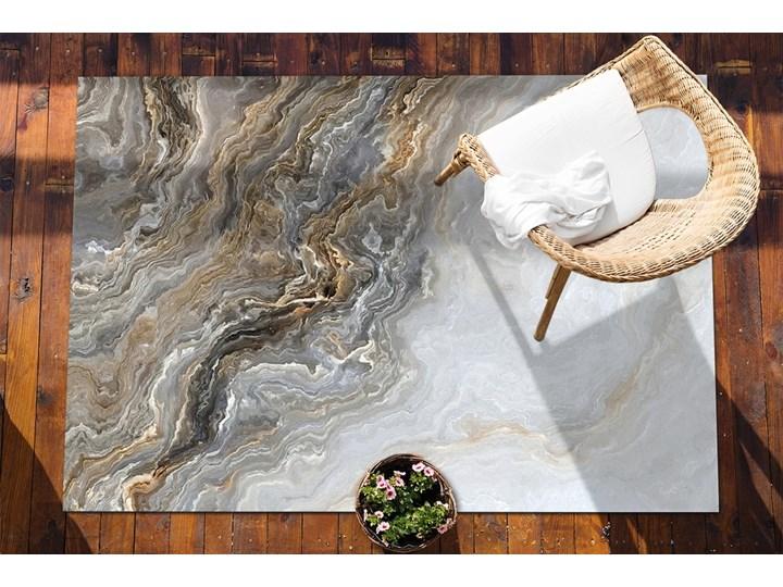 Dywan na taras do ogrodu na balkon Perłowy marmur Pomieszczenie Salon 60x90 cm Prostokątny Winyl Dywany 80x120 cm Kolor Brązowy