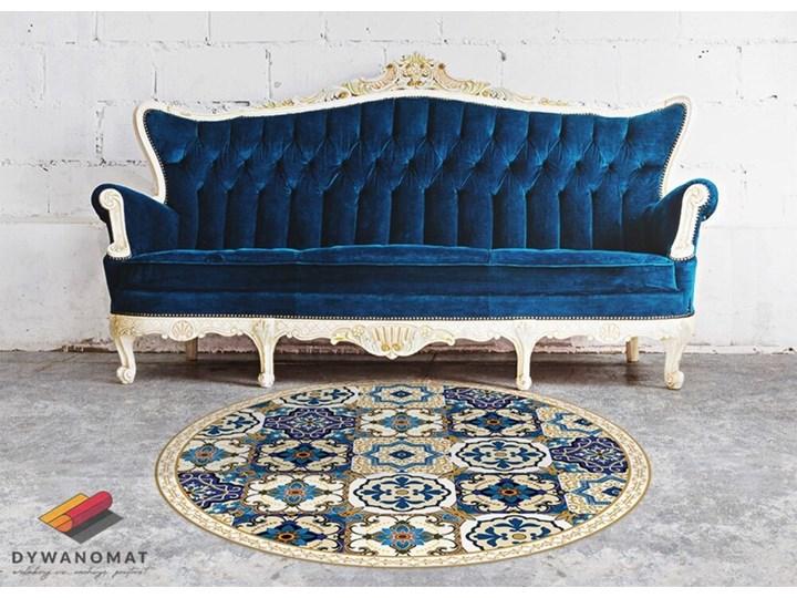 Mata winylowa do domu portugalskie kafelki Dywany Okrągły 60x60 cm Kolor Beżowy
