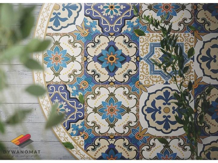 Mata winylowa do domu portugalskie kafelki Dywany Okrągły 60x60 cm Pomieszczenie Salon Kolor