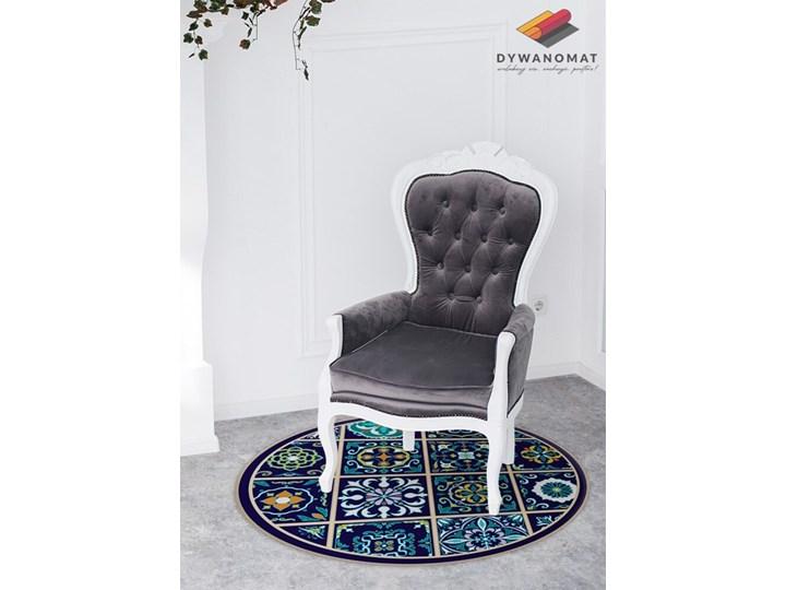Modny dywan winylowy portugalskie kafelki 60x60 cm Okrągły Dywany Pomieszczenie Balkon i taras Syntetyk Kolor Granatowy