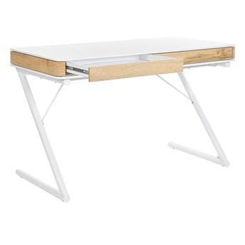 Biurko białe z jasnym drewnem MDF metalowa rama 120 x 60 cm minimalistyczny design dwie szuflady