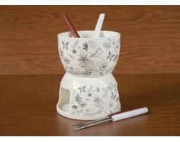 Fondue ceramiczne DUO MOTYLEK -- biały