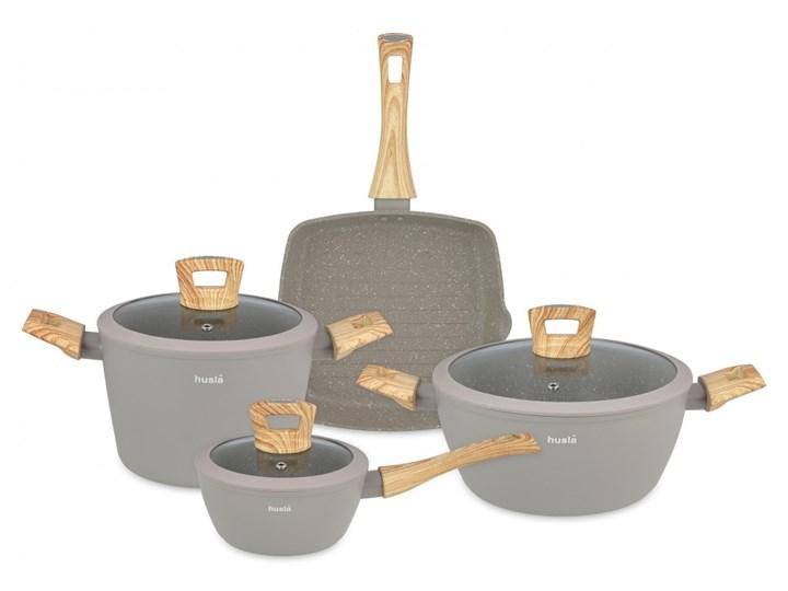 7elementowy zestaw naczyń kuchennych HYGGE Kategoria Zestawy garnków i patelni Zestaw mieszany Aluminium Kolor Szary