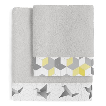 Zestaw 2 bawełnianych ręczników Blanc Symmetry