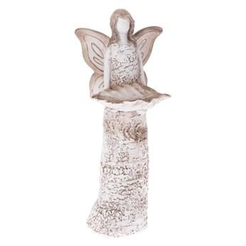 Białe poidełko dla ptaków w kształcie anioła Dakls, wys. 37 cm