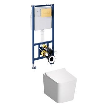Boston podtynkowy zestaw WC z miską i deską wolnoopadającą przycisk złoty BOSTONSETBPGL
