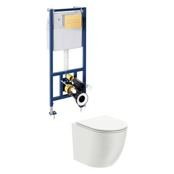 Ottawa podtynkowy zestaw WC z miską i deską wolnoopadającą przycisk złoty OTTAWASETBPGL
