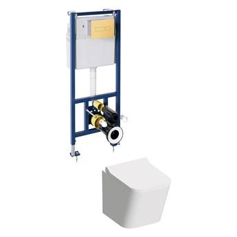 Fontana podtynkowy zestaw WC z miską i deską wolnoopadającą przycisk złoty FONTANASETBPGL