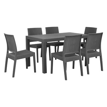 Zestaw mebli ogrodowych szare prostokątny stół 140 x 80 cm 6 krzeseł na taras do ogrodu
