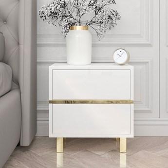 Elegancka biała szafka nocna Dancan MAGICA ze złotymi dodatkami / wysoki połysk