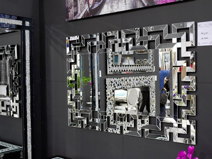 Lustro rama z luster wzór  Grecco Mirror Glamur Lustro bez ramy Ścienne Prostokątne Pomieszczenie Sypialnia