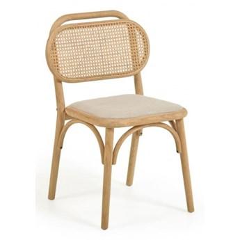 Nedoria drewniane krzesło z ratanowym oparciem