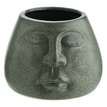 Doniczka Face Imprint Ø11x8 cm zielona matowa