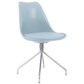 Krzesło Gina Ego 49x84 cm jasnoniebieskie / chromowane siedzisko ekoskóra