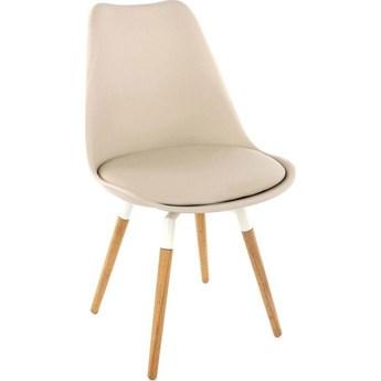 Krzesło Gina Fido szarobeżowe nogi drewniano-białe