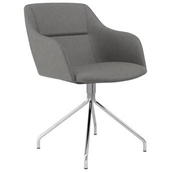 Krzesło z podłokietnikami Sofia Ego 53x78 cm szare / chromowane ekoskóra