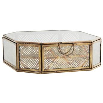 Pudełko na biżuterię Tombox 18x18 cm mosiężne postarzane
