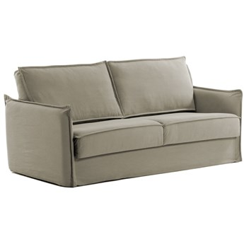 Sofa rozkładana Samsa 182x92 cm beżowa pianka poliuretanowa