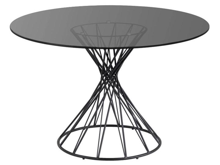 Stół Niut ∅120 cm czarny blat szklany Szkło Metal Styl Glamour