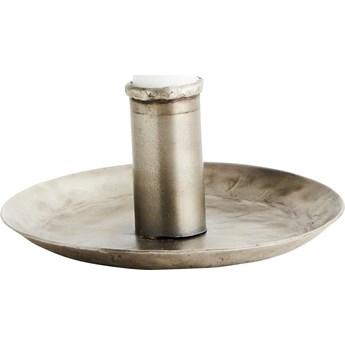 Świecznik żelazny 13 cm srebrny