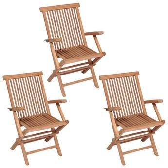 vidaXL Składane krzesła ogrodowe, 3 szt., lite drewno tekowe