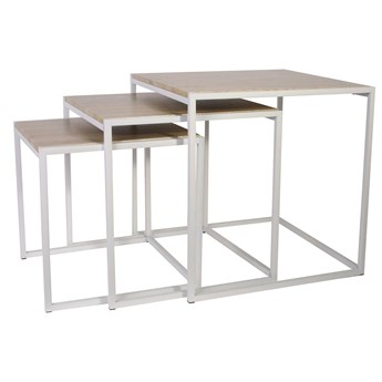 Skandynawski zestaw stolików biały - Amalio