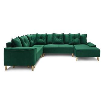 Zielony aksamitny narożnik rozkładany w kształcie U z nogami w kolorze złota Bobochic Paris Panoramique XXL Hera, prawostronny