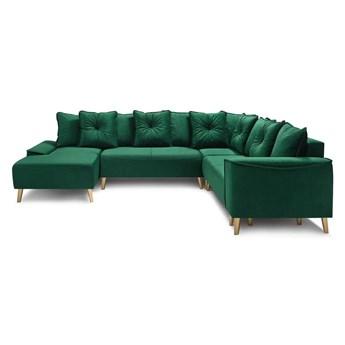 Zielony aksamitny narożnik rozkładany w kształcie U z nogami w kolorze złota Bobochic Paris Panoramique XXL Hera, lewostronny
