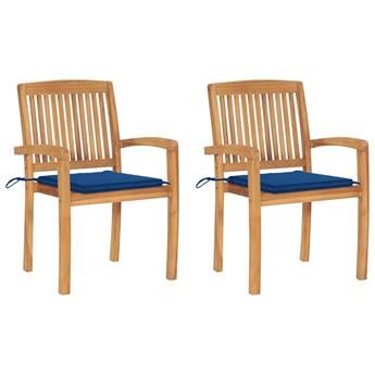 vidaXL Krzesła ogrodowe, 2 szt., niebieskie poduszki, drewno tekowe