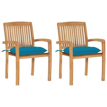 vidaXL Krzesła ogrodowe, 2 szt., jasnoniebieskie poduszki, tekowe