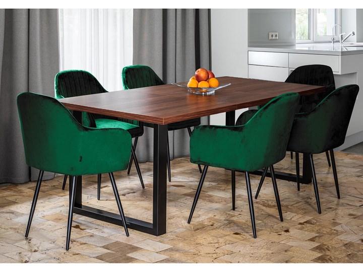 Rozkładany stół jadalniany FIORD / Ciemny orzech Drewno Metal Szerokość 90 cm Wysokość 75 cm Rozkładanie Rozkładane