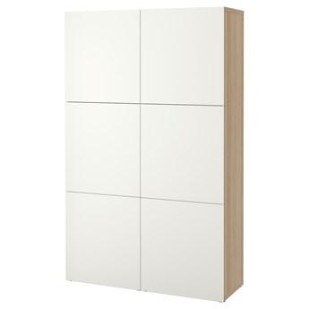 IKEA BESTÅ Kombinacja z drzwiami, Dąb bejcowany na biało/Lappviken biały, 120x42x193 cm