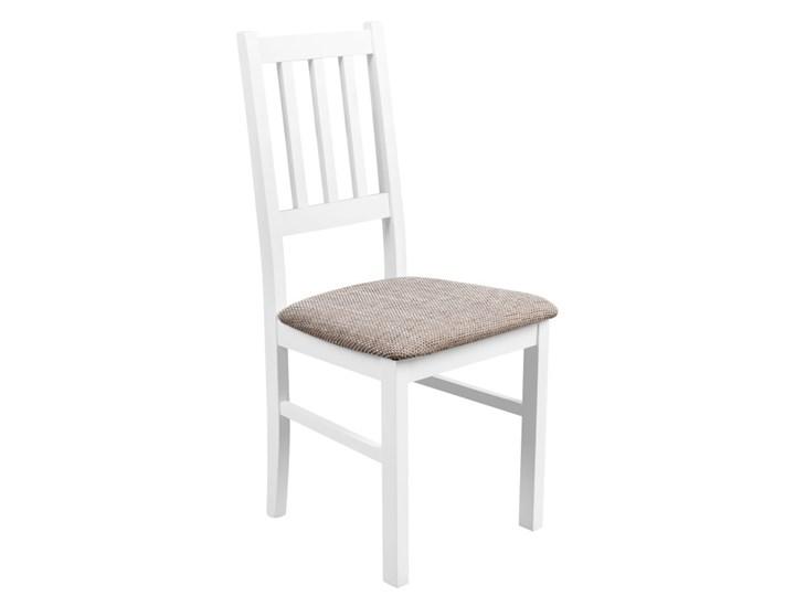 Krzesło Drewniane do Kuchni Jadalni Jasny Brąz Tkanina Wysokość 48 cm Drewno Wysokość 94 cm Pomieszczenie Jadalnia Kategoria Krzesła kuchenne