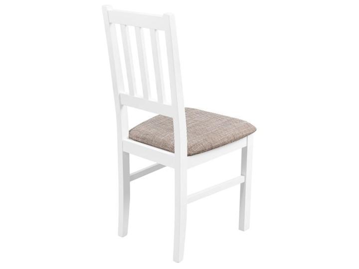 Krzesło Drewniane do Kuchni Jadalni Jasny Brąz Wysokość 48 cm Drewno Wysokość 94 cm Tkanina Pomieszczenie Jadalnia