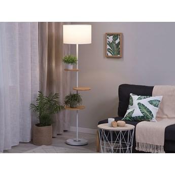 Lampa stojąca biała metalowa 153 cm 3 półki okrągły abażur nowoczesna