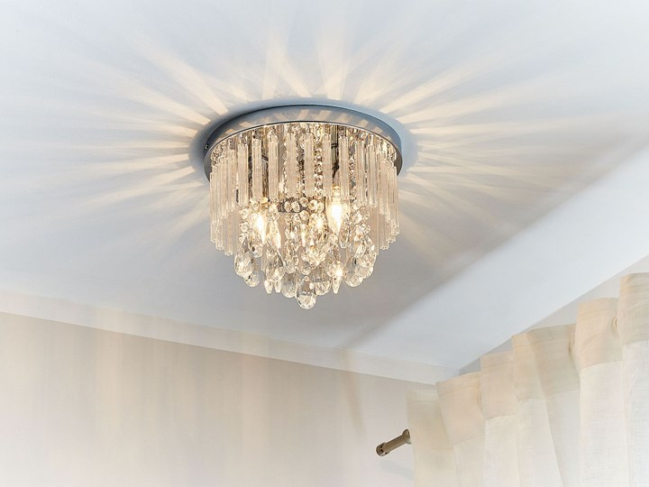 Żyrandol lampa wisząca srebrna akrylowe kryształki 3 punkty światła tradycyjny elegancki wygląd oświetlenie